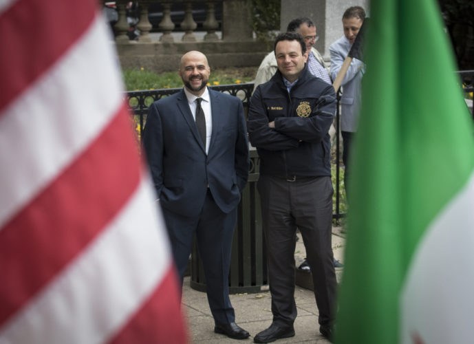04-20-19 SOUTH PATERSON PROJECT/SYRIAN ANNIVERSARY : Prospect Park mayor Mohamed T. Khairullah, left, and Paterson mayor Andre Sayegh at the Syrian Independence flag raising ceremony at Paterson City Hall. Sayegh is of Lebanese and Syrian descent, and Khairullah was born in Syria.Evacuation Day is Syria's national day commemorating the evacuation of the last French soldier and Syria's proclamation of full independence and the end of the French mandate of Syria on April 17,1946, and does not correlate to the current political strife in Syria, This ceremony did NOT recognize the flag used by the Syrian Government, instead honored the flag used by the Syrian Opposition.