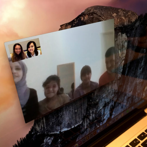 """NEW YORK 06-30-2017: The Al Rahmounds finally get to """"meet"""" their sponsors, sisters Yudhisty Saridjo and Maiya Kim. They held a video chat with the help of a translator.The sisters, who are in New York City where they have a small online jewelry business called Saridjo and they donate 10% of all sales to HumanWire's Tent-to-Home program, has sponsored the family and enabled them to move into an apartment in Athens."""