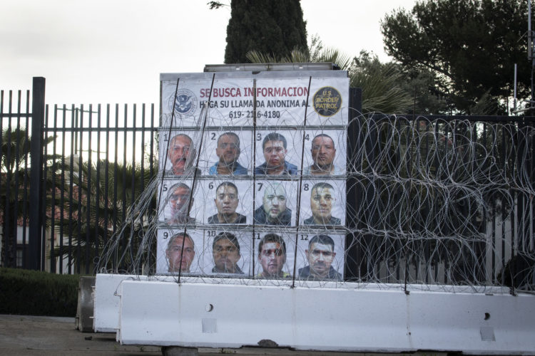 TECATE, CA  03/12/2019: Photos of Mexico's most wanted criminals are posted on the U.S. side of the border crossing in Tecate, asking the public for information. Tecate is located 40 miles east of San Diego, and directly adjacent to the Mexican city of the same name.