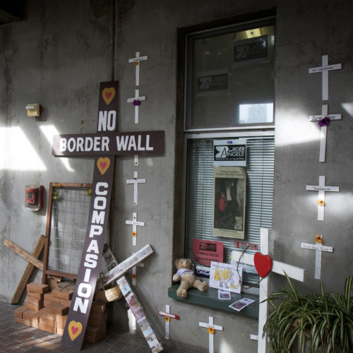 TIJUANA, MEXICO  03-09-2019:  An artistic collection of protest signs are on display outside the Border Angels office. Border Angels (Angeles De La Frontera) is a San Diego-based human rights organization that serves the immigrant population through various migrant outreach programs. They also focus on migrant rights, immigration reform, and the prevention of immigrant deaths along the border. Border Angels has more than 2000 volunteers nationwide.