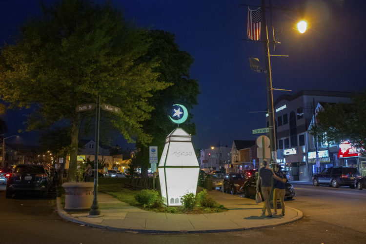 "05-04-19 PATERSON, NJ:  The Ramadan Mubarak lantern is illuminated at the South Paterson Park on Main Street to usher in the holy month of Ramadan. The lantern, called a fanous in Arabic, wishing the city's large Muslim community a happy Ramadan.6th Ward Paterson Councilman Al Abdellaziz, who helped start the tradition four years ago, said, ""We want this to become a destination, ""it's like the Muslim Rockefeller Center Christmas tree."""